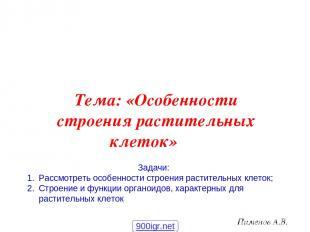 Пименов А.В. Тема: «Особенности строения растительных клеток» Задачи: Рассмотрет
