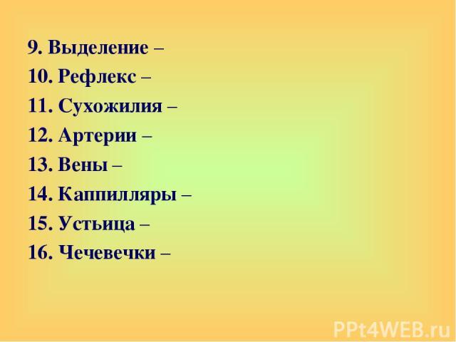 9. Выделение – 10. Рефлекс – 11. Сухожилия – 12. Артерии – 13. Вены – 14. Каппилляры – 15. Устьица – 16. Чечевечки –