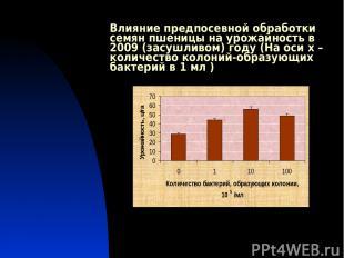 Влияние предпосевной обработки семян пшеницы на урожайность в 2009 (засушливом)