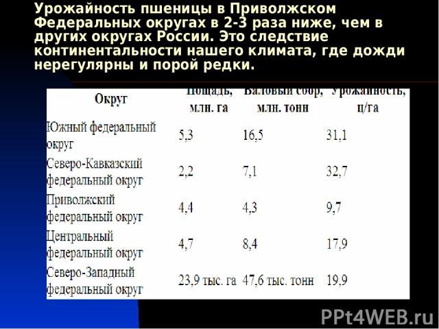 Урожайность пшеницы в Приволжском Федеральных округах в 2-3 раза ниже, чем в других округах России. Это следствие континентальности нашего климата, где дожди нерегулярны и порой редки.