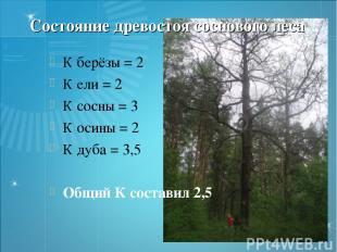 Состояние древостоя соснового леса К берёзы = 2 К ели = 2 К сосны = 3 К осины =
