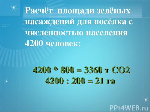 4200 * 800 = 3360 т СО2 4200 : 200 = 21 га Расчёт площади зелёных насаждений для посёлка с численностью населения 4200 человек: