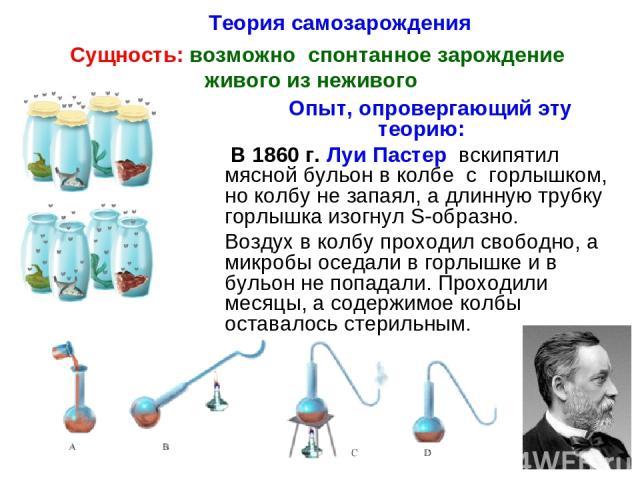 Теория самозарождения Сущность: возможно спонтанное зарождение живого из неживого Опыт, опровергающий эту теорию: В 1860 г. Луи Пастер вскипятил мясной бульон в колбе с горлышком, но колбу не запаял, а длинную трубку горлышка изогнул S-образно. Возд…
