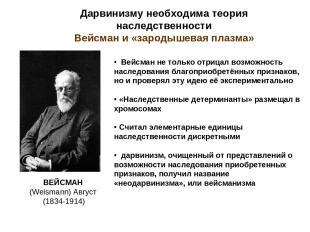 Дарвинизму необходима теория наследственности Вейсман и «зародышевая плазма» Вей