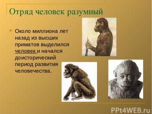 Отряд человек разумный Около миллиона лет назад из высших приматов выделился чел