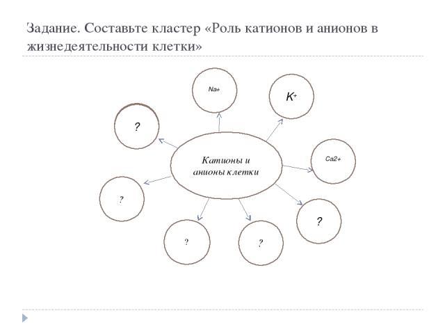 Задание. Составьте кластер «Роль катионов и анионов в жизнедеятельности клетки» Катионы и анионы клетки ? ? ? K+ Na+ Ca2+ ? ?