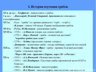 I. История изучения грибов III в. до н.э. - Теофраст - первая книга о грибах. I