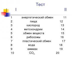 Тест I II 1 энергетический обмен 11 2 пища 12 3 кислород 13 4 митохондрии 14 5 о