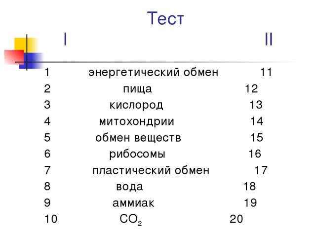 Тест I II 1 энергетический обмен 11 2 пища 12 3 кислород 13 4 митохондрии 14 5 обмен веществ 15 6 рибосомы 16 7 пластический обмен 17 8 вода 18 9 аммиак 19 10 СО2 20