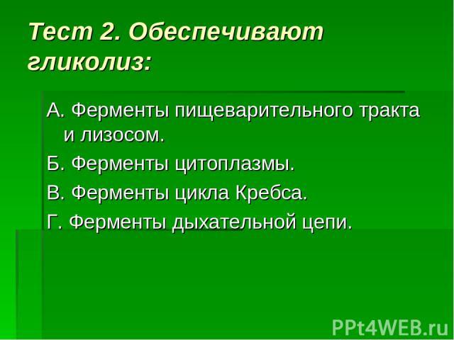 Тест 2. Обеспечивают гликолиз: А. Ферменты пищеварительного тракта и лизосом. Б. Ферменты цитоплазмы. В. Ферменты цикла Кребса. Г. Ферменты дыхательной цепи.