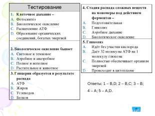 Ответы: 1 – B,D; 2 – B,C; 3 – B; 4 – A; 5 – A,D. Тестирование Клеточное дыхание