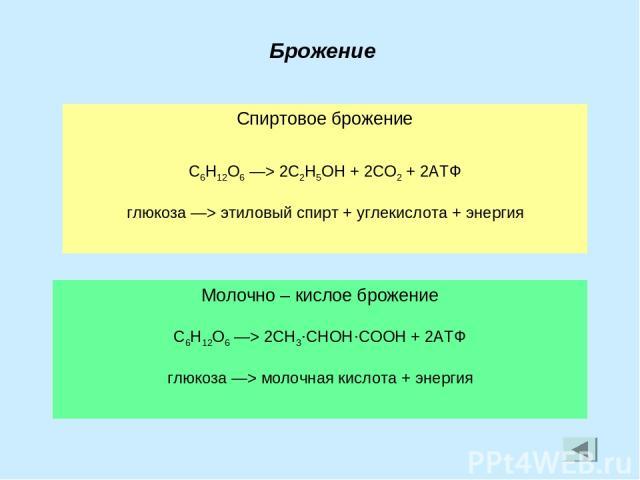 Брожение Спиртовое брожение C6H12O6 —> 2C2H5OH + 2CO2 + 2АТФ глюкоза —> этиловый спирт + углекислота + энергия Молочно – кислое брожение C6H12O6 —> 2CH3·CHOH·COOH + 2АТФ глюкоза —> молочная кислота + энергия