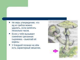Не верь утверждению, что яд из грибов можно удалить, если кипятить несколько час