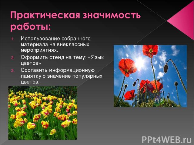 Использование собранного материала на внеклассных мероприятиях. Оформить стенд на тему: «Язык цветов» Составить информационную памятку о значение популярных цветов.