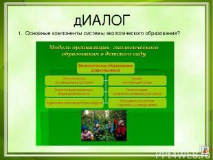 дИАЛОГ 1. Основные компоненты системы экологического образования?