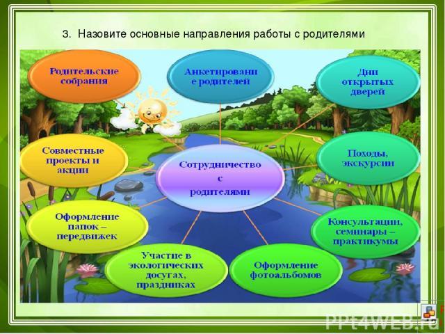 3. Назовите основные направления работы с родителями