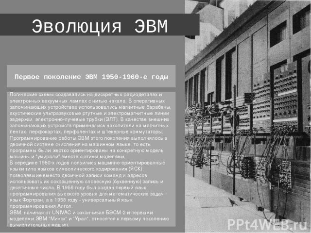 Эволюция ЭВМ Логические схемы создавались на дискретных радиодеталях и электронных вакуумных лампах с нитью накала. В оперативных запоминающих устройствах использовались магнитные барабаны, акустические ультразвуковые ртутные и электромагнитные лини…