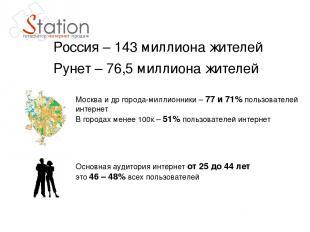 Россия – 143 миллиона жителей Рунет – 76,5 миллиона жителей Москва и др города-м