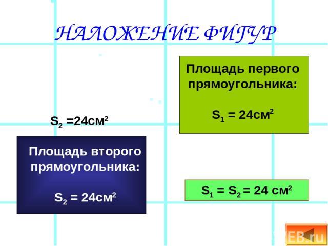 НАЛОЖЕНИЕ ФИГУР Площадь первого прямоугольника: S1 = 24см2 S2 =24см2 S1 = S2 = 24 см2 Площадь второго прямоугольника: S2 = 24см2