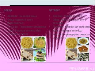 СРЕДА ЧЕТВЕРГ Завтрак:Пшенная каша Обед:Куриный суп с вермишелью Полдник:Твор