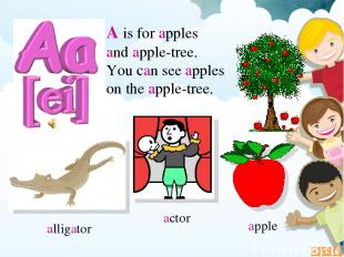 А is for apples and apple-tree. You can see apples on the apple-tree. alligator