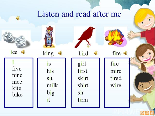 I five nine nice kite bike king Listen and read after me ice is his sit milk big it girl first skirt shirt sir firm fire mire tired wire bird fire