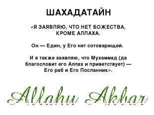 «Я ЗАЯВЛЯЮ, ЧТО НЕТ БОЖЕСТВА, КРОМЕ АЛЛАХА. Он — Един, у Его нет сотоварищей. И