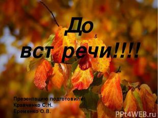До встречи!!!! Презентацию подготовили: Кравченко С.Н. Еременко О.В.