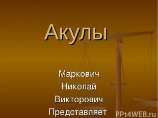 Акулы Маркович Николай Викторович Представляет