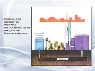 Природный газ добывают из подземных месторождений, где он находится под большим