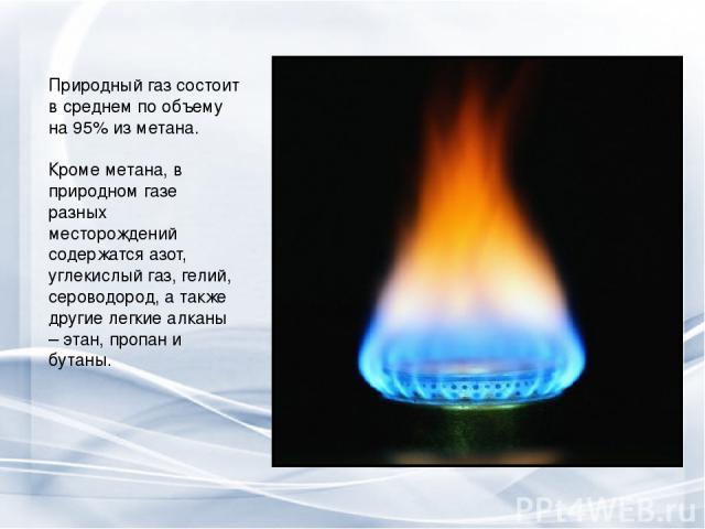 Природный газ состоит в среднем по объему на 95% из метана. Кроме метана, в природном газе разных месторождений содержатся азот, углекислый газ, гелий, сероводород, а также другие легкие алканы – этан, пропан и бутаны.