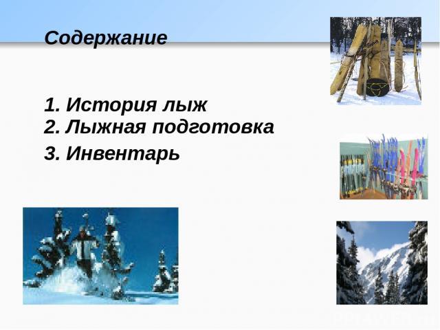 Содержание 1. История лыж 2. Лыжная подготовка 3. Инвентарь