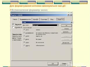 Для форматування клітинок виконуються такі дії: Встановлення формату чисел; Вирі