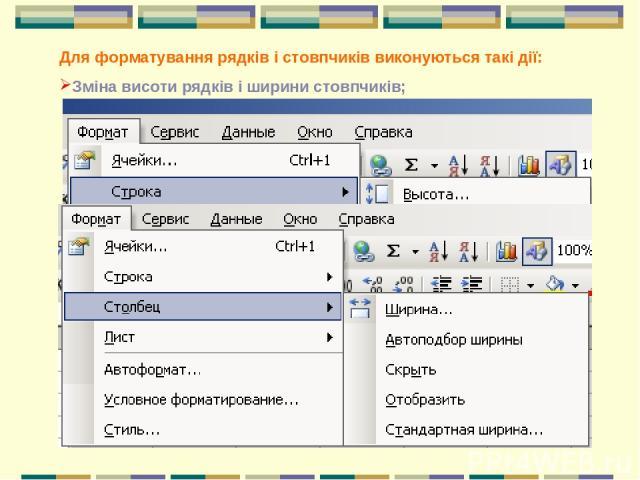 Для форматування рядків і стовпчиків виконуються такі дії: Зміна висоти рядків і ширини стовпчиків;