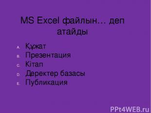 MS Excel файлын… деп атайды Құжат Презентация Кітап Деректер базасы Публикация