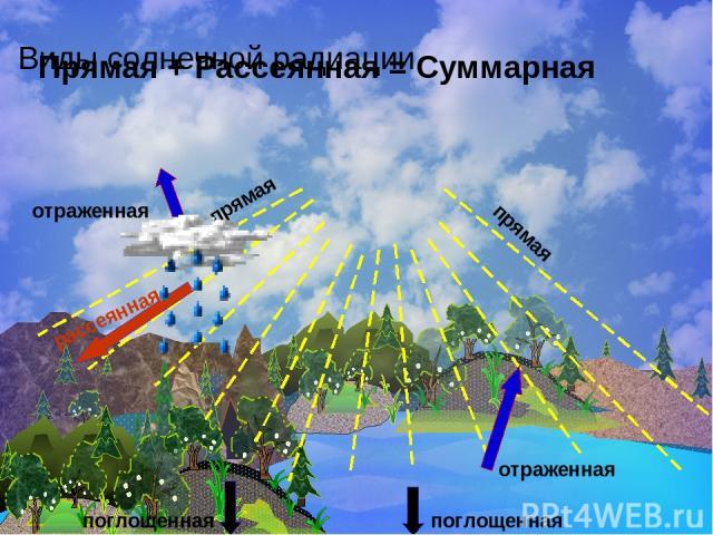 Виды солнечной радиации поглощенная отраженная рассеянная отраженная поглощенная прямая прямая Прямая + Рассеянная = Суммарная