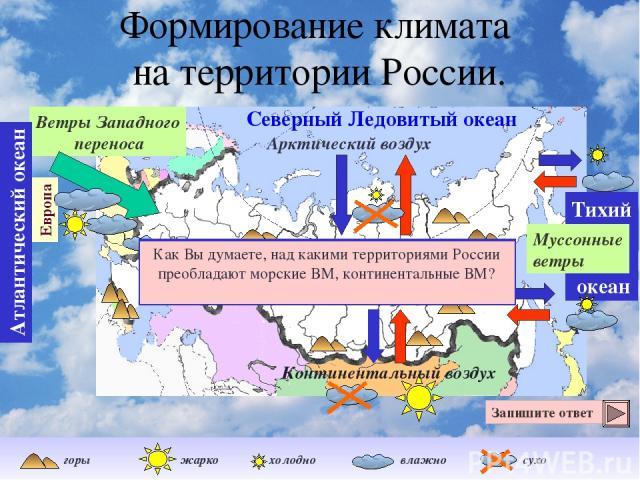 Формирование климата на территории России. Ветры Западного переноса Северный Ледовитый океан Тихий океан Атлантический океан Европа Муссонные ветры Арктический воздух Как Вы думаете, почему арктический воздух, который формируется над океаном, не тол…