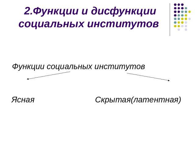 2.Функции и дисфункции социальных институтов Функции социальных институтов Ясная Скрытая(латентная)