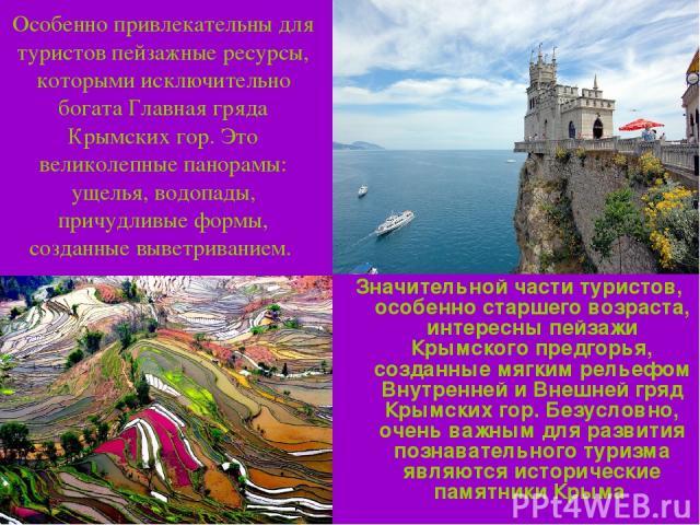 Особенно привлекательны для туристов пейзажные ресурсы, которыми исключительно богата Главная гряда Крымских гор. Это великолепные панорамы: ущелья, водопады, причудливые формы, созданные выветриванием. Значительной части туристов, особенно старшего…