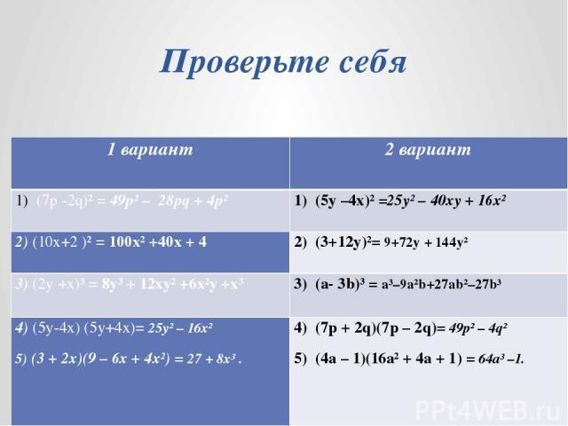 Проверьте себя 1 вариант 2 вариант (7р-2q)²=49р² – 28pq+ 4p² (5y–4x)²=25y² – 40xy+ 16x² 2)(10x+2 )² =100x² +40x+ 4 (3+12y)²=9+72y+ 144y² 3)(2y +x)³ =8y³ + 12xy² +6x²y+x³ (a-3b)³ =a³–9a²b+27ab²–27b³ 4)(5y-4x) (5y+4x)=25y² – 16x² 5)(3 + 2x)(9–6x + 4x²…