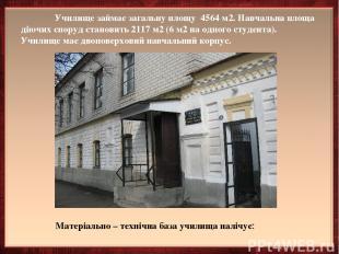 Училище займає загальну площу 4564 м2. Навчальна площа діючих споруд становить 2