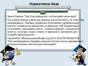 """Нормативна база Закон України """"Про благодійництво та благодійні організації"""" Пос"""