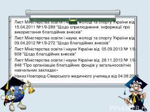 Лист Міністерства освіти і науки, молоді та спорту України від 15.04.2011 №1/9-2