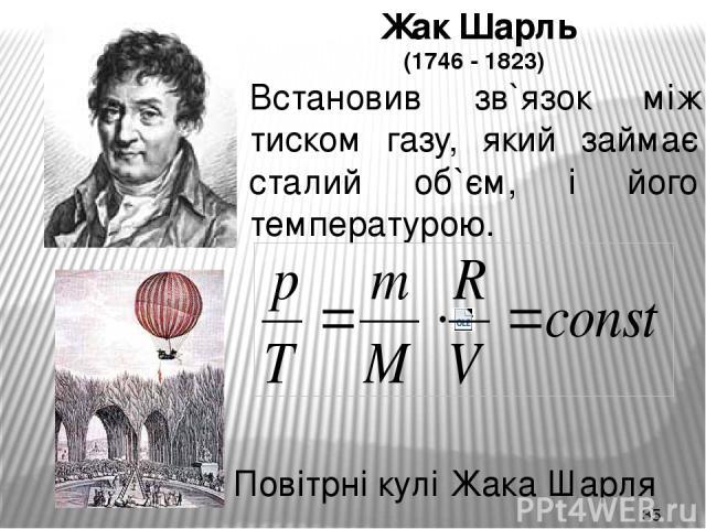 Жак Шарль (1746 - 1823) Встановив зв`язок між тиском газу, який займає сталий об`єм, і його температурою. Повітрні кулі Жака Шарля
