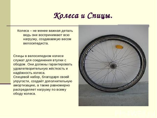 Колеса и Спицы. Колеса – не менее важная деталь ведь они воспринимают всю нагрузку, создаваемую весом велосипедиста. Спицы в велосипедном колесе служат для соединения втулки с ободом. Они должны гарантировать удовлетворительную жёсткость и надёжнос…