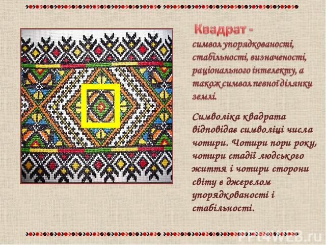Символіка квадрата відповідає символіці числа чотири. Чотири пори року, чотири стадії людського життя і чотири сторони світу є джерелом упорядкованості і стабільності.
