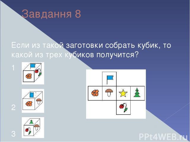Завдання 8 Если из такой заготовки собрать кубик, то какой из трех кубиков получится? 1 2 3