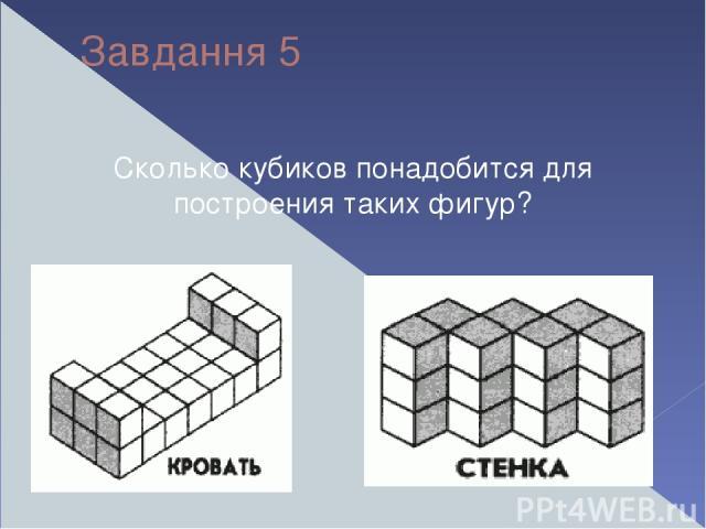 Завдання 5 Сколько кубиков понадобится для построения таких фигур?
