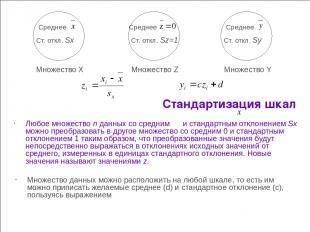 Стандартизация шкал Любое множество n данных со средним и стандартным отклонение