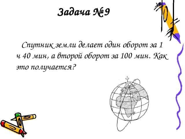 Задача № 9 Спутник земли делает один оборот за 1 ч 40 мин, а второй оборот за 100 мин. Как это получается?